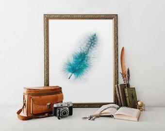 Feather, Feather Poster, Feather Print, Feather Art, Feather Wall Art, Blue Feather, Blue Print Art, Blue Prints, Boho Prints, Art, BD-061