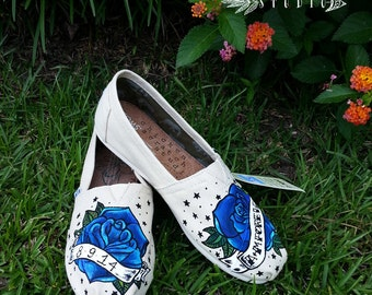 Custom Hand Painted Traditional Tattoo Rose and banner Wedding TOMS | bride | bridal | custom and personalized wedding shoes | great gift
