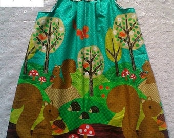 Autumn Dress, Handmade, baby, Nuts for Dinner, Yoke Dress, Woodland, A Line, babies dresses, kids clothes, Leaves, Squirrel, Autumn Dress