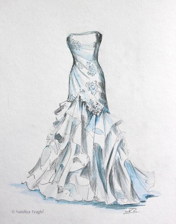 Simple Wedding Dress Painting Sketch