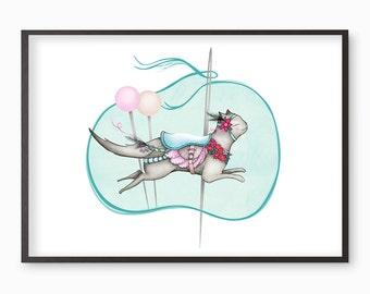Cat Carousel - cats art print fairground  - illustration - A4 / A3 / A5 / 8 x 10  Fine Art Giclee Print kawaii cute artwork