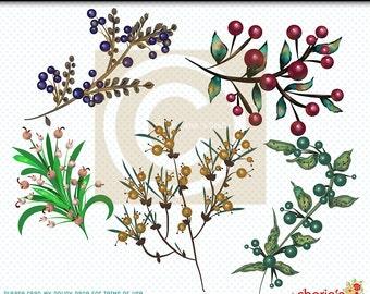 Berry Branches Clip Art, Botanicals Clip Art, Botanicals Graphics, Branches of Berries Downloadable Clip Art, Digital Scrapbooking, Digitals