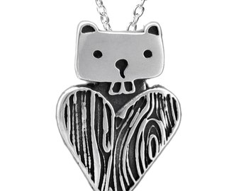 Beaver Necklace - Sterling Silver Beaver Pendant with Faux Bois Heart