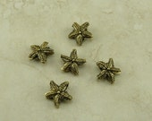 5 Star Fish Starfish Beads > Sea Star Ocean Beach - Gold Tone Plated Lead Free Pewter American Made - I ship internationally