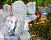Knit Stuffed Animal, Hand Knit and Embroidered Elephant Doll and Bird; Rosy and Aristotle/Collectible Heirloom Dolls