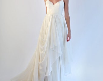 V-Neck Silk and Silk Chiffon Gown w/Spaghetti Straps - Stella