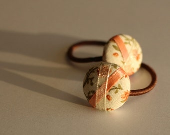 Peaches and Cream - Set of 2 Mini Hair Ties - Button Ponytail Holders - Hair Candy by Gazzu