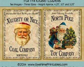 Naughty or Nice Coal and North Pole Toy Company Farmhouse Label Printables - Primitive Rustic Look - Digital PDF or JPG File