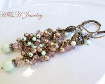 Swarovski Crystal and Pearl Aged Brass Cluster Dangle Earrings