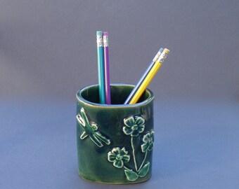 Dragonfly Pencil Holder . Handmade Ceramic Pottery