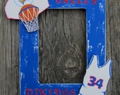 SCHOOL BASKETBALL TEAM Picture Frame - Hand Painted Wood