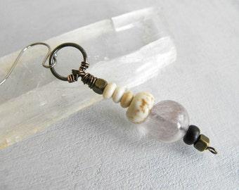 Boho Dangle Earring // Single Beaded Earring // Tribal Earring // Vintage Bead Earring // Modern Bohemian Handmade Jewelry by Luluanne