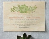 Boho Succulents Real Wood Wedding Invitation