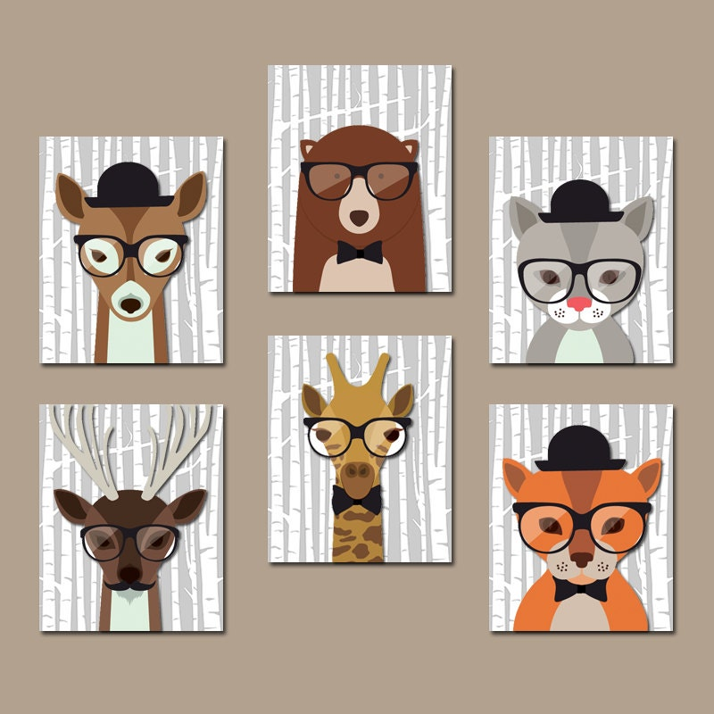 Hipster woodland animals wall art baby boy nursery canvas or for Animal wall decoration