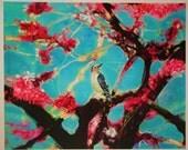 Perfect view, the Redbud tree,  16x20, Art, Original, mixed media photograph, spring gardens, bird art