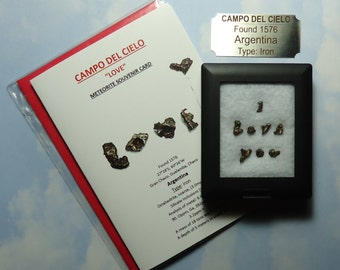 Meteorite I LOVE YOU Mini Campo Del Cielo Natural Meteorite Writing Display Genuine Outer Space Rocks Found 1576 Argentina