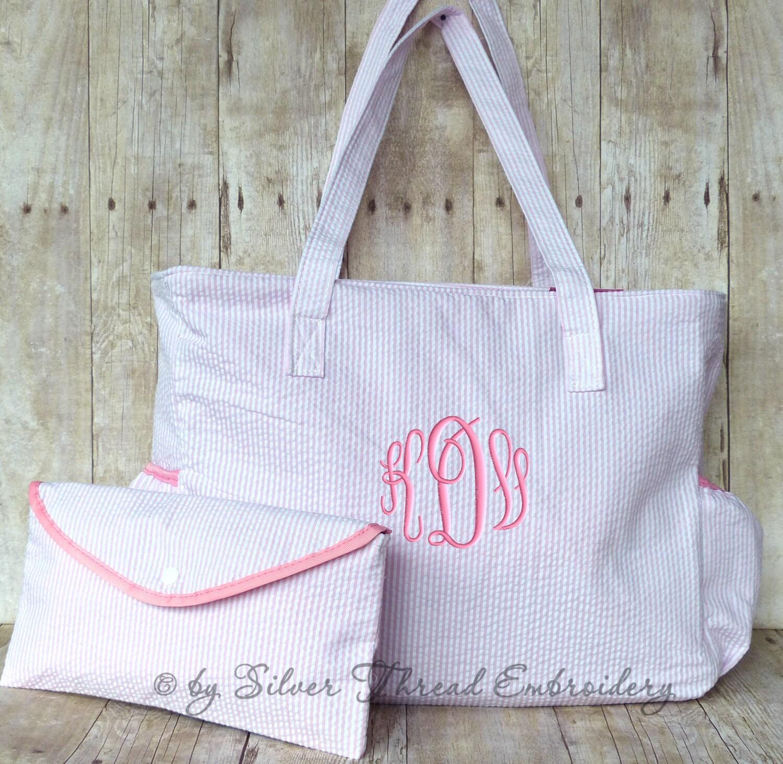 personalized diaper bag pink seersucker monogrammed baby girl. Black Bedroom Furniture Sets. Home Design Ideas