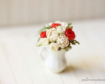 Dollhouse Miniature Flowers - White and Red Flowers Bouquet