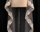 Soft Gray Waltz Length Mantilla Veil With Ivory Lace And Crystals