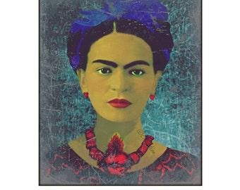 Frida Kahlo Sacred Heart Poster Art Print Instant Digital Download Boho Mixed Media Collage Modern Home Decor Aqua Blue Red Black White