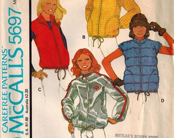 Vintage 70's Sewing Pattern, Misses Unlined Jacket or Vest and Hood, Hooded Vest Pattern, Hoodie Jacket Pattern, Size Small 8/10, Zip Front