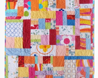 Sunshine Joy Modern Baby Quilt, Modern Lap Quilt, Gender Neutral Colorful Patchwork Quilt, Modern Wallhanging, Free Shipping Quilt