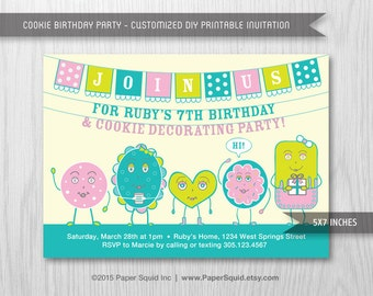 Cookie Decorating Birthday Party Invitation - 5x7 Inches - Digital File - Print Your Own Item #156A