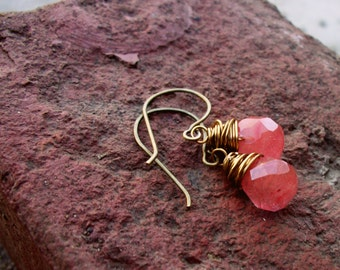 Antiqued Gold Wire Wrapped Cherry Quartz Glass Drop Earrings