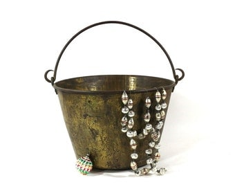 1890s Bucket, Handmade Brass Kettle, Antique #2 Kitchen Cooking Pot