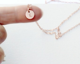 Tiny Initial Necklace, Dainty Initial Necklace, Silver, Rose Gold or Gold Personalized Necklace, Layering Necklace, Little Initial Necklace