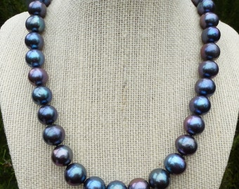 12mm Blue Green Purple Tahitian Like Freshwater Pearls Custom Knotting Designer Peacock  Aubergine Plum Blueberry