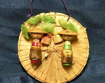 Kokeshi Miniature Japanese Wooden Doll Pair on Woven Kasa Hat Wall Decor
