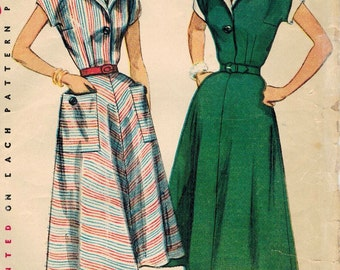 1950s Simplicity 4448 Vintage Sewing Pattern Misses Shirtwaist Dress, Afternoon Dress Size 12 Bust 30