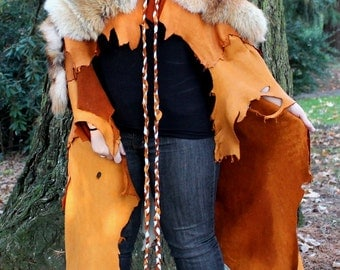 Red coyote fur and deerskin leather cape cloak - hand sewn