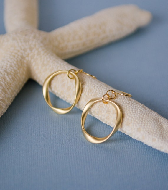 Gold twisted ring earrings,unique, organic, circle, universe, nature-inspired, jewelry, gift, handmade in Santa Cruz
