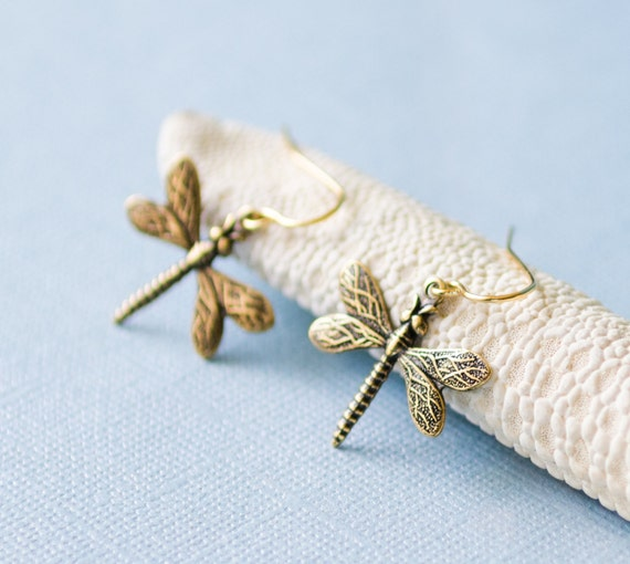 Dragonfly Earrings, Gold, small, pretty, nature-inspired, insect, delicate, dangle, stamped, tiny jewelry, Handmade in Santa Cruz