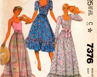 Vintage McCall's Pattern 7376 - Misses Romantic Peasant-Style Dress with Sweetheart Neckline - Size 14