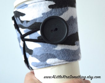 Camo Cool Cup Cozy for Tapered Disposable Cups - Adjustable, Handcrafted, Eco Friendly ~ READY TO SHIP