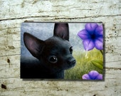 Cosmetic Bag Pouch Accessory for Purse Dog 94 black Chihuahua Flower painting by Lucie Dumas