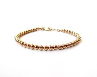 Bracelet - 14K Gold Filled Bead Bracelet - 4mm Beads - Everyday Wear - 14K Yellow Gold Ball Bracelet - Simple Gold Bracelet - Gold Beads