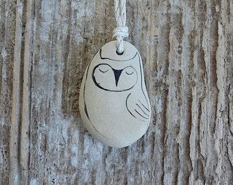 Beach Stone Owl Necklace