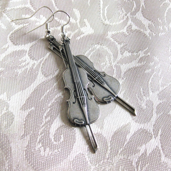 Violin Earrings Vintage Silver MUSIC to MY EARS Orchestra Fiddle Music Earrings Violin Jewelry Handmade Birthday Gift Music Gift for Her