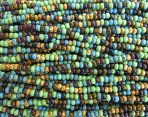5/0 Opaque Bohemian Gypsy Picasso Mix Czech Glass Seed Beads - 20 Inch Strand (DW233)