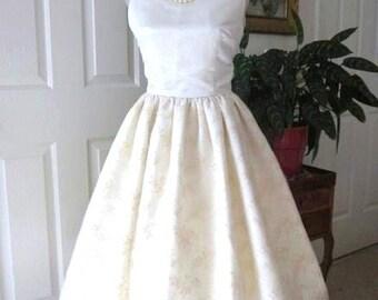 WEDDING DRESS 1960s Inspired Satin Lace Classic Bridal Audrey Hepburn Style