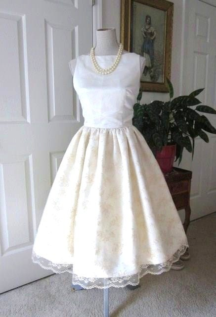 Wedding dress 1960s style satin lace classic by tenderlane for 1960 style wedding dresses
