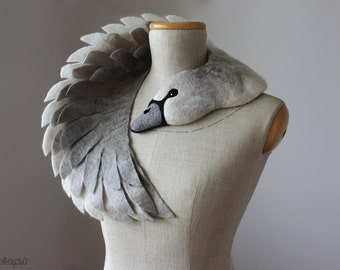 Ugly Duckling - Grey Swan (light version) - felted wool animal scarf, stole / shrug