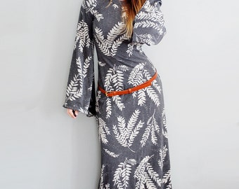 Keen Alchemist Dress    bell sleeve maxi dress, bohemian dress, American Milled Fabric, angel sleeve, Hand printed Maxi    by Simka Sol®