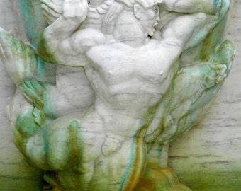 Male Nude Art Print, Spa Wall Art, Mint Aqua Teal Merman Print, Fountain Photography, Triton Greek God Print, Pisces Art Modern Beach Decor