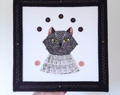 "Embroidery on canvas - ""Carnie Cat"" wall hanging - hand embroidered cat portrait on canvas with antique lace and felt - OOAK"