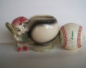 Vintage Baseball Planter And  Boy With Bat 1950s Ceramic